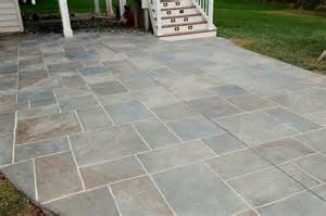 backyard patio with multi color grouted sted concrete