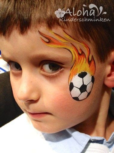 soccer ball with flames boy s face painting by let s schminken zuk 252 nftige projekte pinterest face face