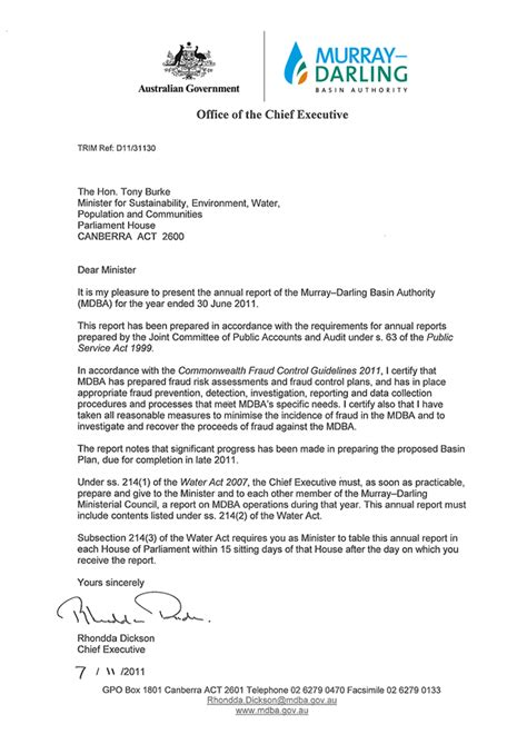 Transmittal Letter Sle For Report annual report murray basin authority