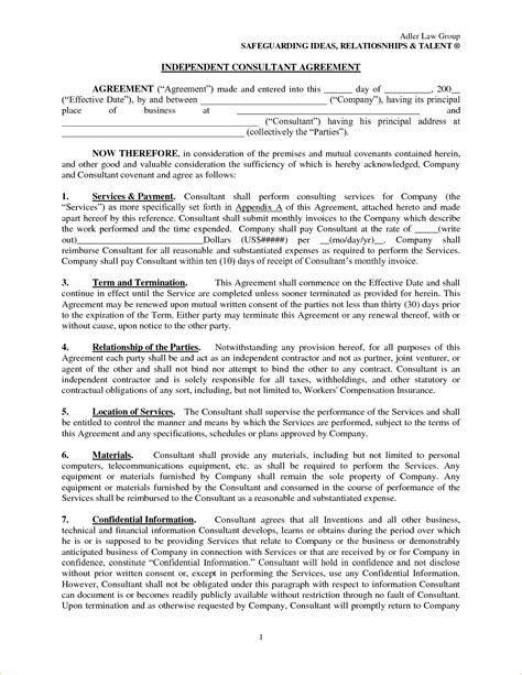 Consultant Agreement Letter Sle consultant agreement contract template 28 images 10
