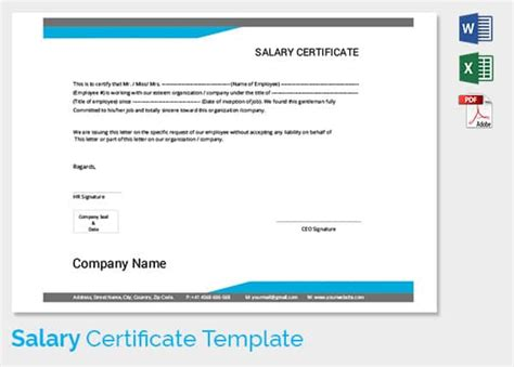 template of salary certificate salary certificate template 24 free word excel pdf