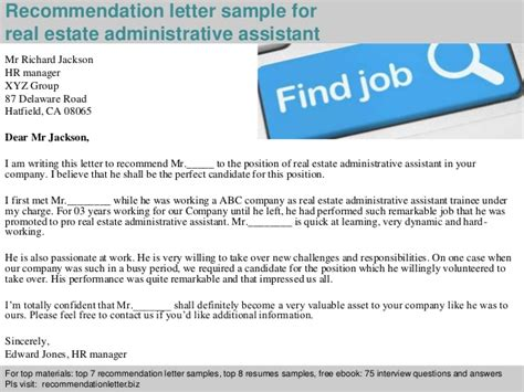 Realtor Assistant by Real Estate Administrative Assistant Recommendation Letter