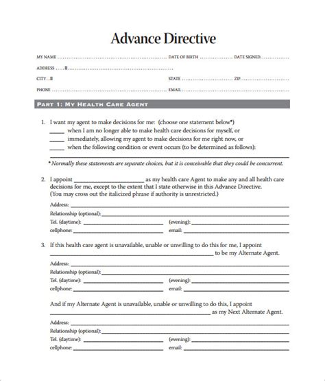 advance medical directive form advance directive template
