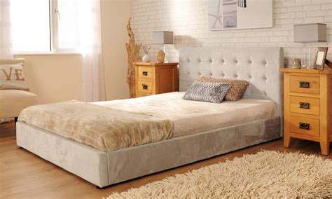 Suede Bed Frame Upholstered Faux Suede Deluxe Bed Frame 3ft 4ft6 5ft Mink In Mink Or Silver Ebay