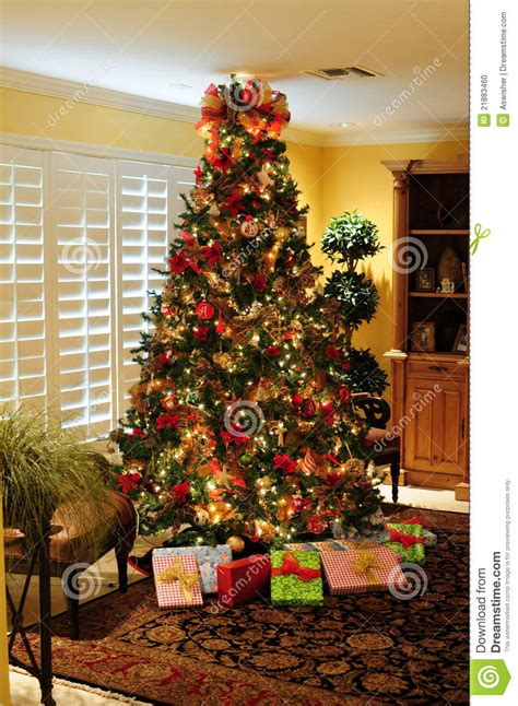 christmas tree gifts stock photo image  wrapping december