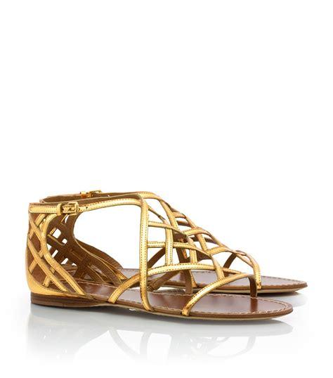 burch flat shoes price burch amalie flat sandal in metallic lyst