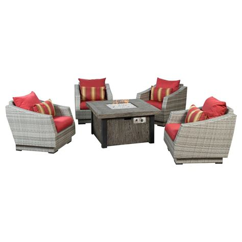 Rst Patio Furniture Rst Brands Cannes 5 Piece Patio Fire Pit Seating Set With