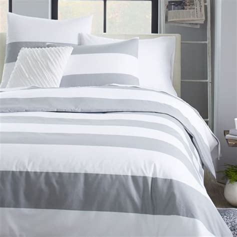 White And Gray Duvet Cover mod stripe duvet cover white feather gray west elm