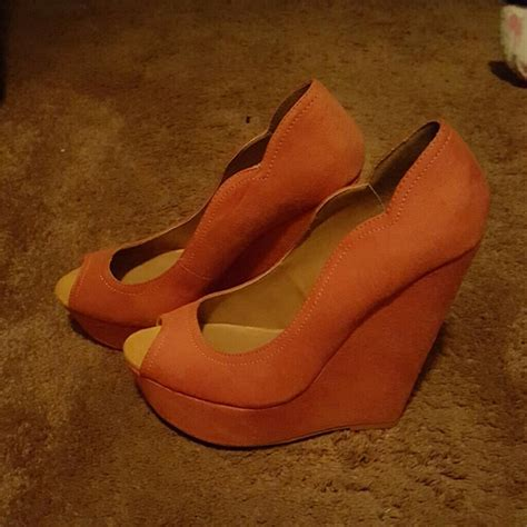 63 shoes burnt orange wedges from kameel s