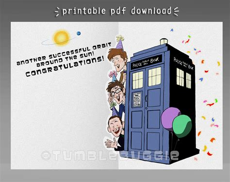 Dr Who Birthday Card Doctor Who Anniversary Card Or Birthday Card For Whovians Pdf