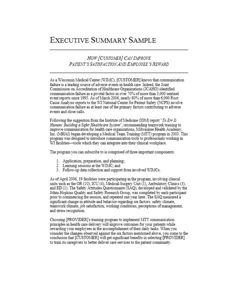 Executive Summary Outline by 30 Executive Summary Exles Templates Template Lab