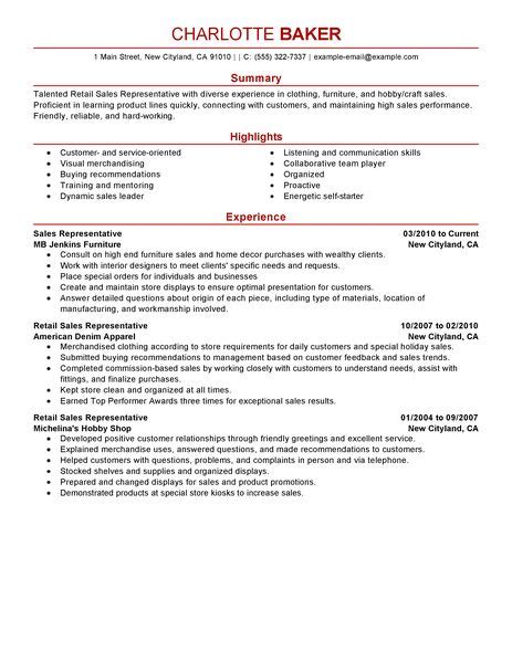 Customer Service Sle Resume by Best Rep Retail Sales Resume Exle Livecareer