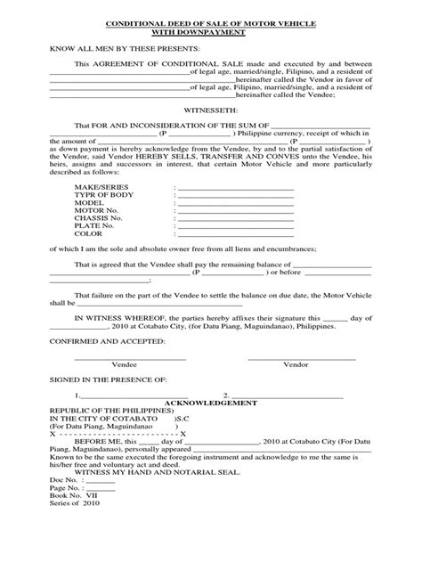conditional deed of sale of motor vehicle docshare tips