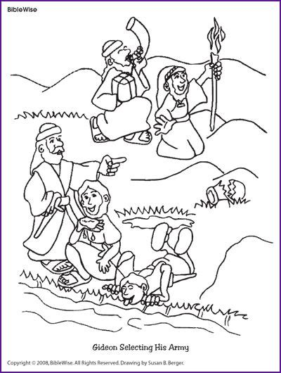 coloring pages of the bible for preschool coloring gideon selecting his army kids korner