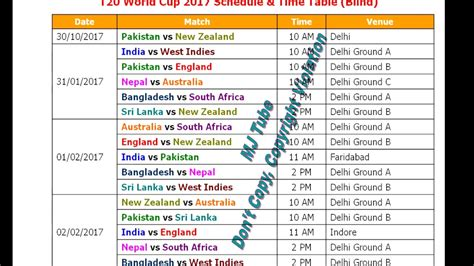 full hd video time table t20 world cup 2017 schedule time table blind hd youtube