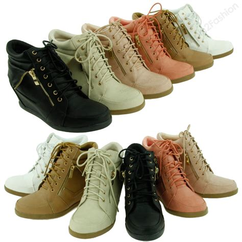 heel sneaker womens high fashion wedge heel shoes lace up high top