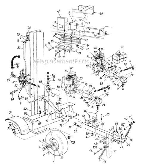 huskee log splitter parts diagram mtd 243 635 000 parts list and diagram 1993