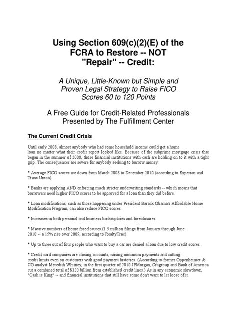 Fcra Credit Dispute Letter Section 609 Of The Fair Credit Reporting Act Loophole