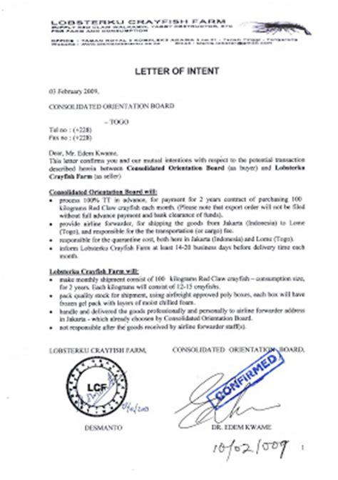 Contoh Letter Of Intent Turkiye Burslari Lobsterku Crayfish Farm Letter Of Intent