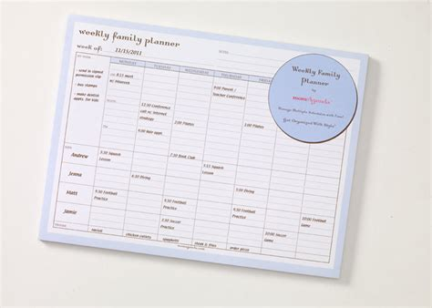 printable planner pad family planner pad family organizer by momagenda the