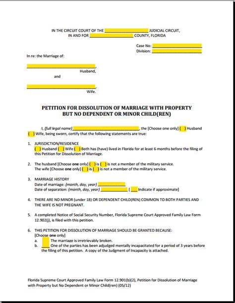 Florida Family Court Search Form 12 901b2 Dissolution Of Marriage With Property But No Children Explained