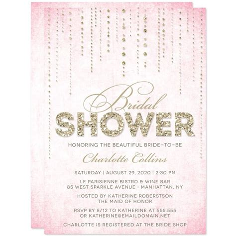 bridal shower invitation sle lovely bridal shower invitations gold and pink ideas