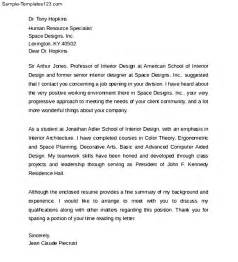 Interior Design Resume Cover Letter by Interior Design Cover Letter Format Sle Templates