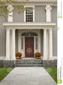 Small Porch Awnings Front Door With Front Porch And Pillars Stock Images