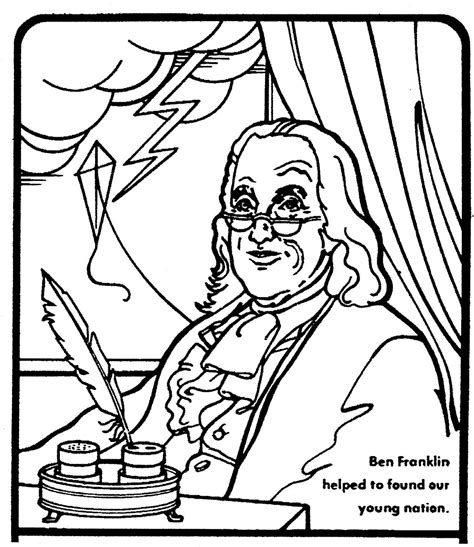 Benjamin Franklin Coloring Page free coloring pages of ben franklin printable