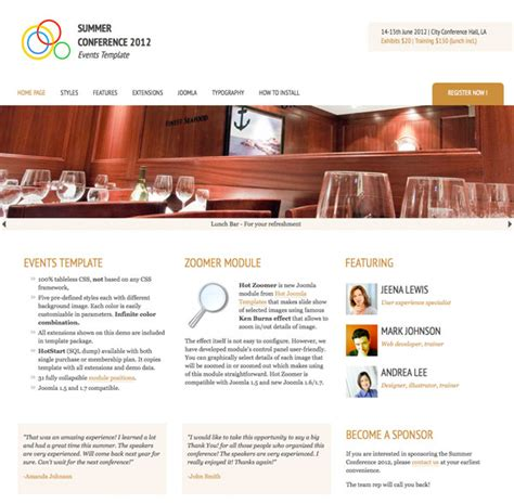 Joomla Events Template For Conferences Meetings Seminars Hotthemes Joomla Event Template