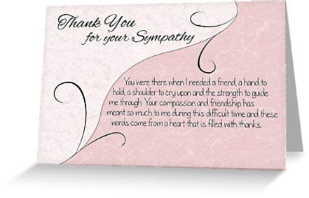 Thank You Notes For Sympathy Cards And Gifts - quot thank you sympathy card pastel pink with vintage scrolls quot greeting cards by
