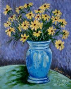 gogh ish flowers in a vase painting by j linder