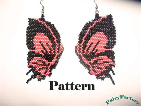 etsy butterfly pattern items similar to pattern butterfly brick stitch earrings