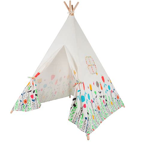 Teepee Tent Pesanan Customer lovely teepee four poles children play tent cotton canvas baby tipi tent flowers