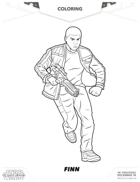 coloring pages for star wars the force awakens star wars the force awakens printable finn coloring page