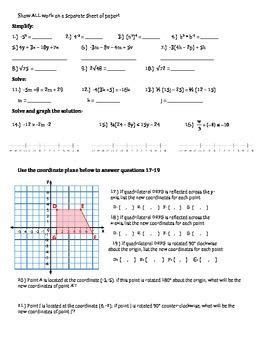 8th Grade Math Common Core Review Packet Math Maker