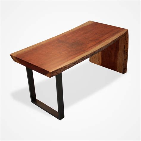 Wood L Base by Single Slab Reclaimed Bubinga Wood L Desk Powder Coated