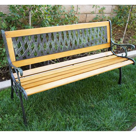 bench cast outdoor 50 quot patio porch deck hardwood cast iron garden