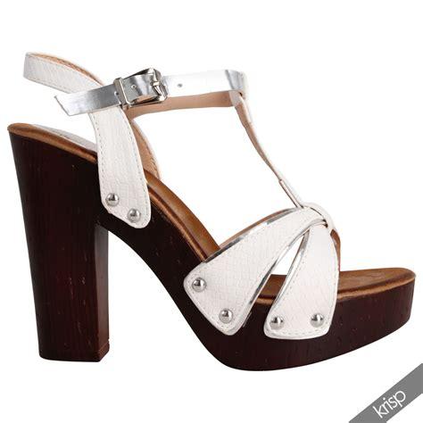 chunky wooden sandals womens wooden chunky platform block high heel clogs t bar