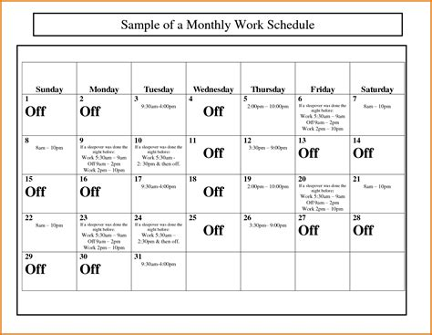 schedule calendar template monthly work schedule template exle of spreadshee