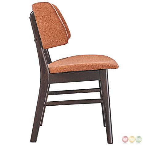 Dining End Chairs Set Of 2 Vestige Vintage Dining Side Chair W Linen Upholstered Seats Walnut Orange