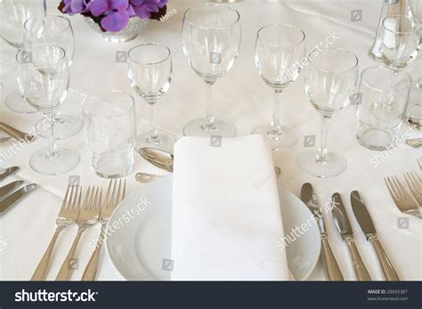 table cutlery set up table setting dining cutlery stock photo