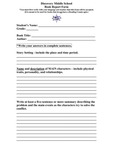 book report template for high school 8 best images of middle school book report printable