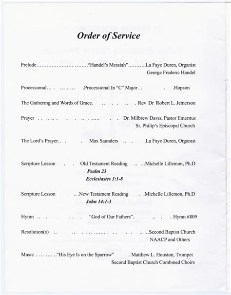 order of service for church template crafts