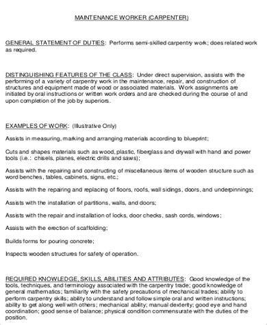 construction worker description sle 7 exles