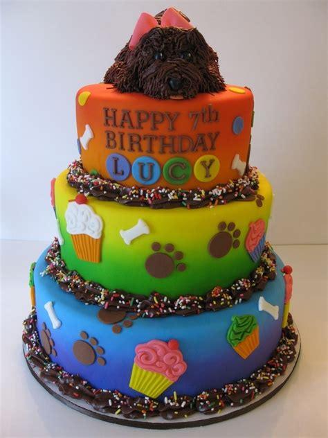 lucys rainbow puppy birthday cake