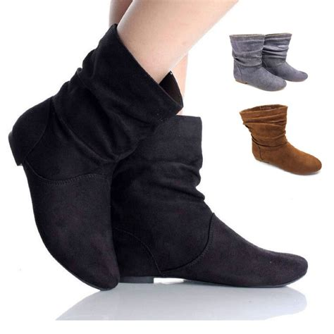 flat ankle shoes womens faux suede fashion pixie ankle boots flats