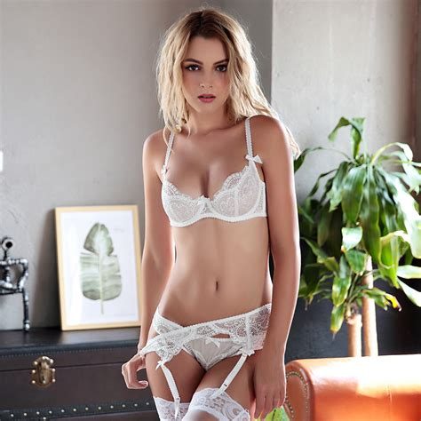 Pretty White 1 Set 5 Item new white set brand sheerness lace bows push up italy transparent