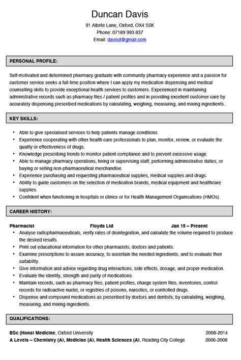 pharmacist salary pharmacist resume sles pharmacist cv exle and template best