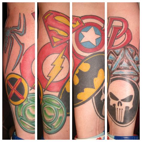 iron street tattoo superman batman punisher green lantern flash